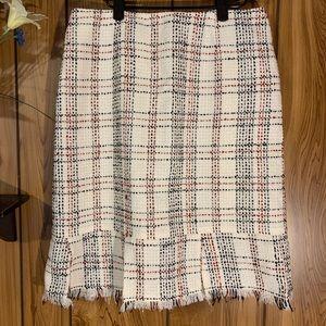 Worthington Midi Skirt Woven Fringe Bottom